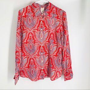 J. Crew Cotton Silk Blend Blouse, Size 10